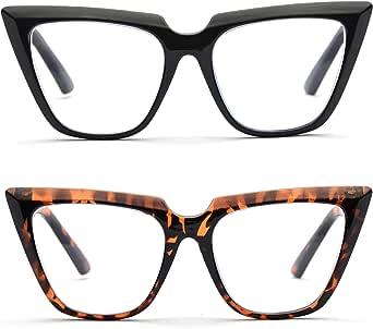 Womens Chic Oversized CatEye Blue Light Blocking Reading Glasses Big Eyeglass Frames Large lens Computer Readers