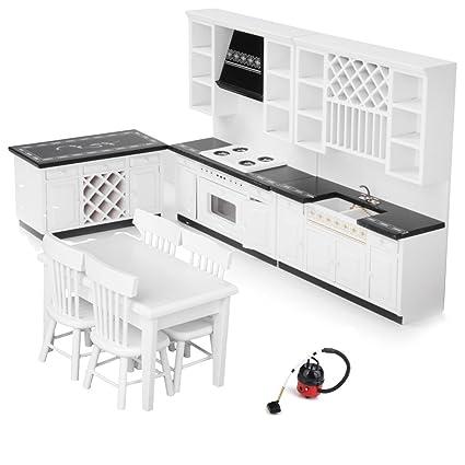 MonkeyJack European Miniature 1:12 Dolls House Furniture Kitchen Sink U0026  Stove Cabinet U0026 5pcs