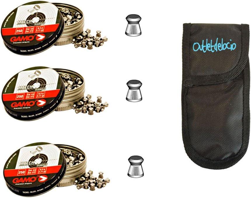 Outletdelocio. 3 latas de 250 perdigones Gamo Match Diabolo de Copa 4,5mm + funda portabalines. 3-38203/23054