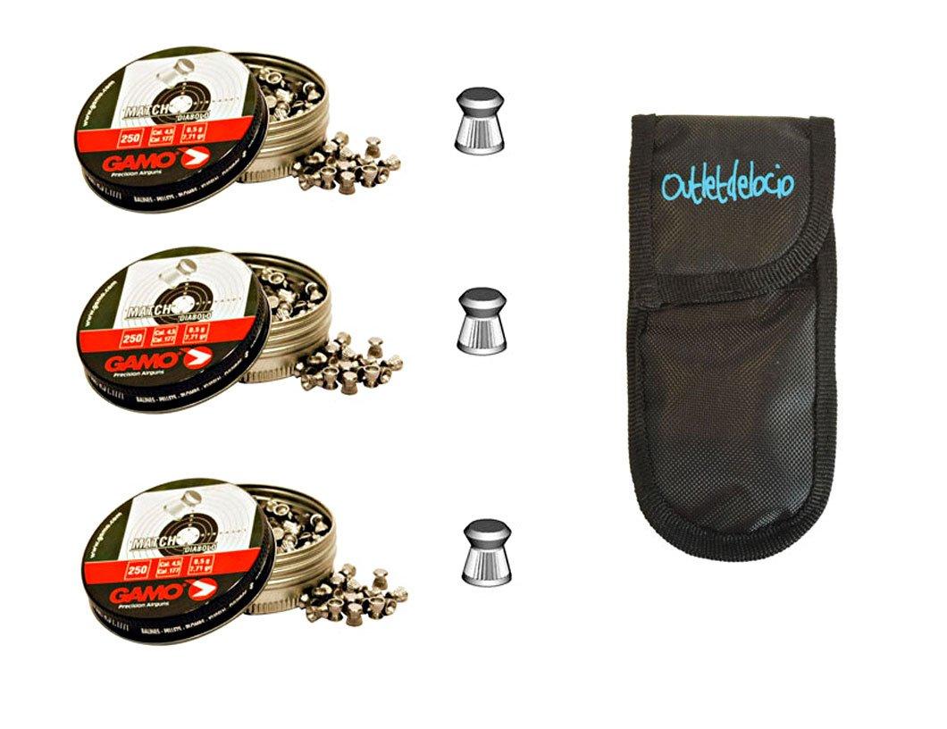 Outletdelocio. 3 latas de 250 perdigones Gamo Match Diabolo de Copa 4, 5mm + funda portabalines. 3-38203/23054