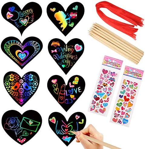 28 Pieces Valentine Crafts Scratch Paper Ornaments Heart Shape Rainbow Scratch Craft Art, with 28 Pieces Wooden Styluses,28 Pieces Ribbons, and 2 3D Puffy Stickers, for Valentine DIY Art Decorations