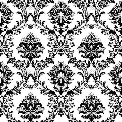 (Norwall BK32013 Document Damask Prepasted Wallpaper Black, White)