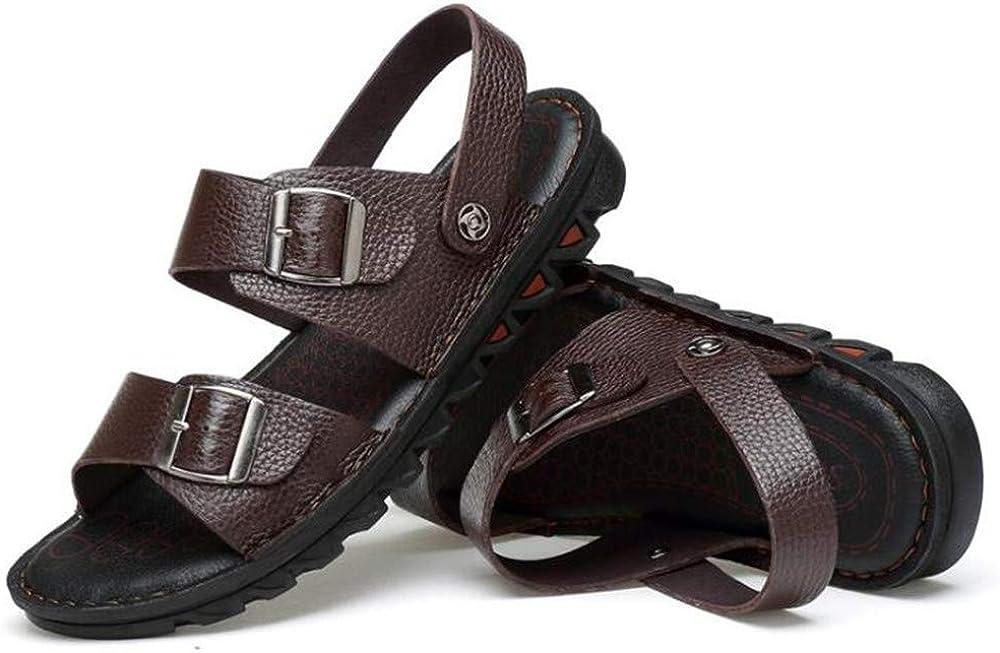 Mens Leather Sandals Comfortable Soles Breathable US Men M Brown,Lable 44//9 D