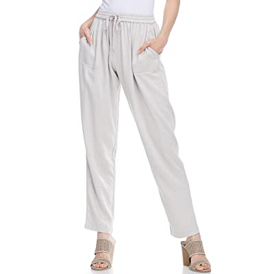 AD Womens Casual Loose Fit Long Linen Pant W/Front Pockets at Women's Clothing store