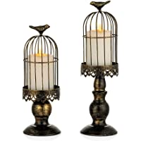 Sziqiqi Decorative Bird Cage Candle Holder Black Vintage Candlestick Holder Set of 2 for Wedding Candle Centerpieces Reception Center Piece Party Home Holiday Decoration Distressed Black
