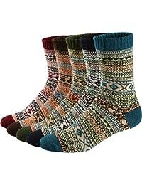 Mens/Womens 5 Pairs Vintage Style Knitting Wool Warm Winter Fall Crew Socks