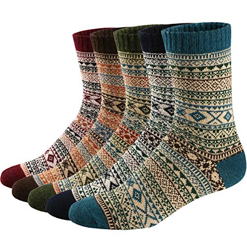 Ueither Unisex Mens/Womens 5 Pairs Vintage Style Thick Knitting Wool Warm Winter Fall Crew Socks