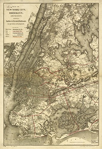 1885 Map (Vintage 1885 Map of New York City, Brooklyn, and vicinity showing surface & elevated railroads in operation and proposed. Shows relief by hachures, drainage, parks, some buildings, names of property owners, streets, roads, and the railroads distinguished by line symbols. New York, United States)