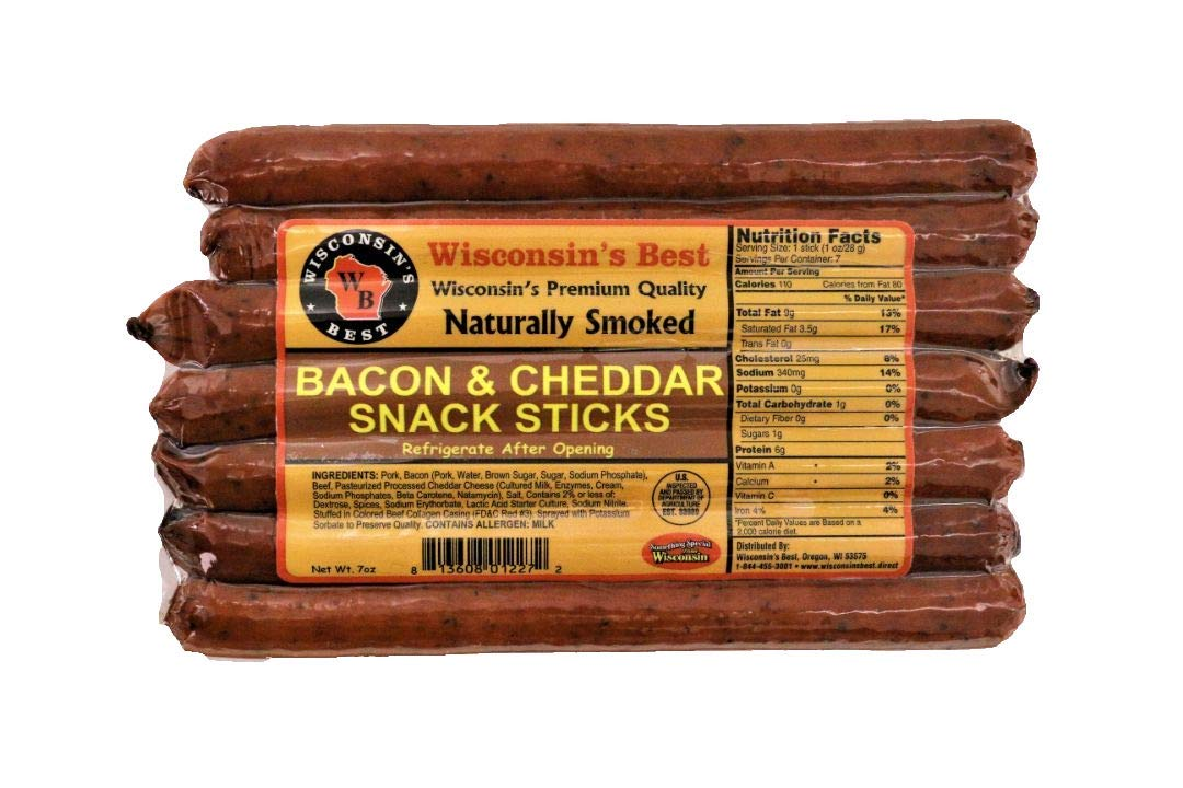 c137895859c6 Wisconsin s Best Bacon and Wisconsin Cheddar Cheese Protein Snack Meat  Sticks