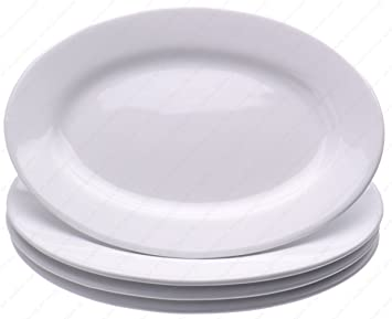 Restaurant Commercial Graded Ceramic Oval Serving Dinner plates  Set of 4 White Ivory  sc 1 st  Amazon.com & Amazon.com: Restaurant Commercial Graded Ceramic Oval Serving ...