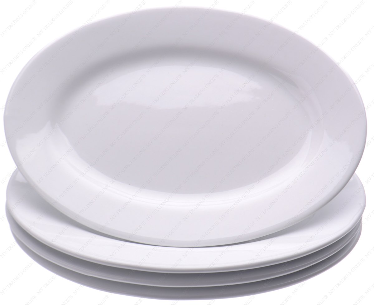 Restaurant Commercial Graded Ceramic Oval Serving Dinner plates , Set of 4, White Ivory, 8-3/8 Inches (L) x 6-3/4 Inches (W) x 3/4 Inches (H)