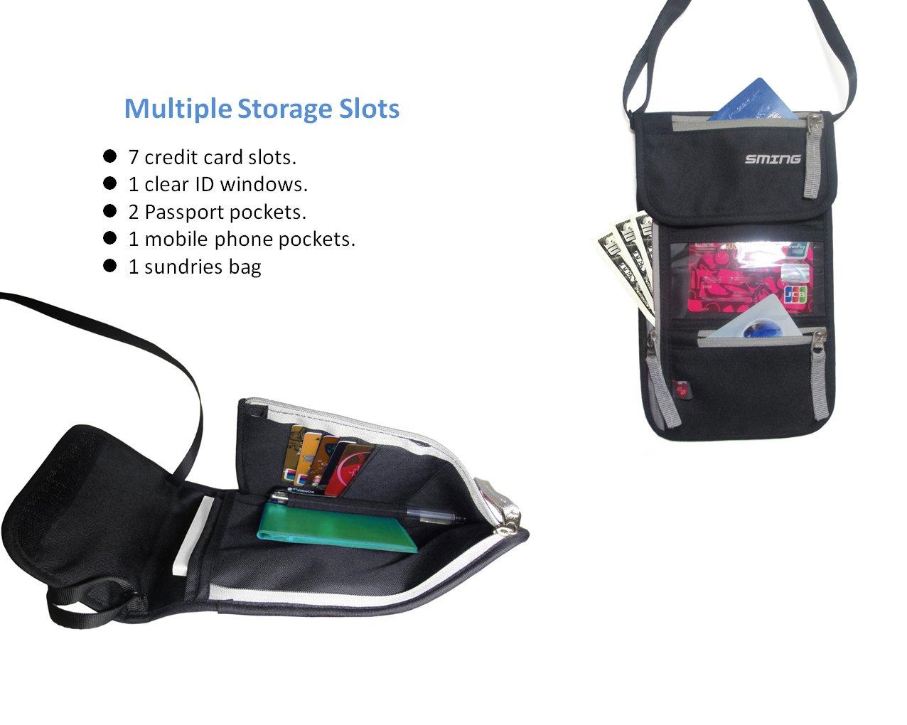 Compact Neck Wallet SMING Porte-passeport Voyage Pochette tour de cou avec RFID Blocking 2 pack