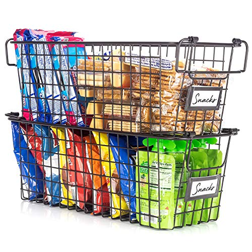Gorgeous Metal Wire Baskets For Pantry Storage and Organization – Set of 2 Stackable Pantry Storage Bins With Handles – Sturdy Wire Food Baskets Keep Your Pantry Organized