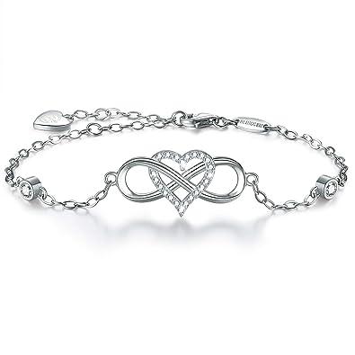 349a2e5fb BlingGem Sterling Silver Bracelets for Women 925 in 18K White Gold Plated  Infinity Heart Charm Bracelet