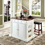 White Kitchen Island with Seating Crosley Furniture Drop Leaf Breakfast Bar Top Kitchen Island in White Finish with 24-Inch Cherry Upholstered Saddle Stools