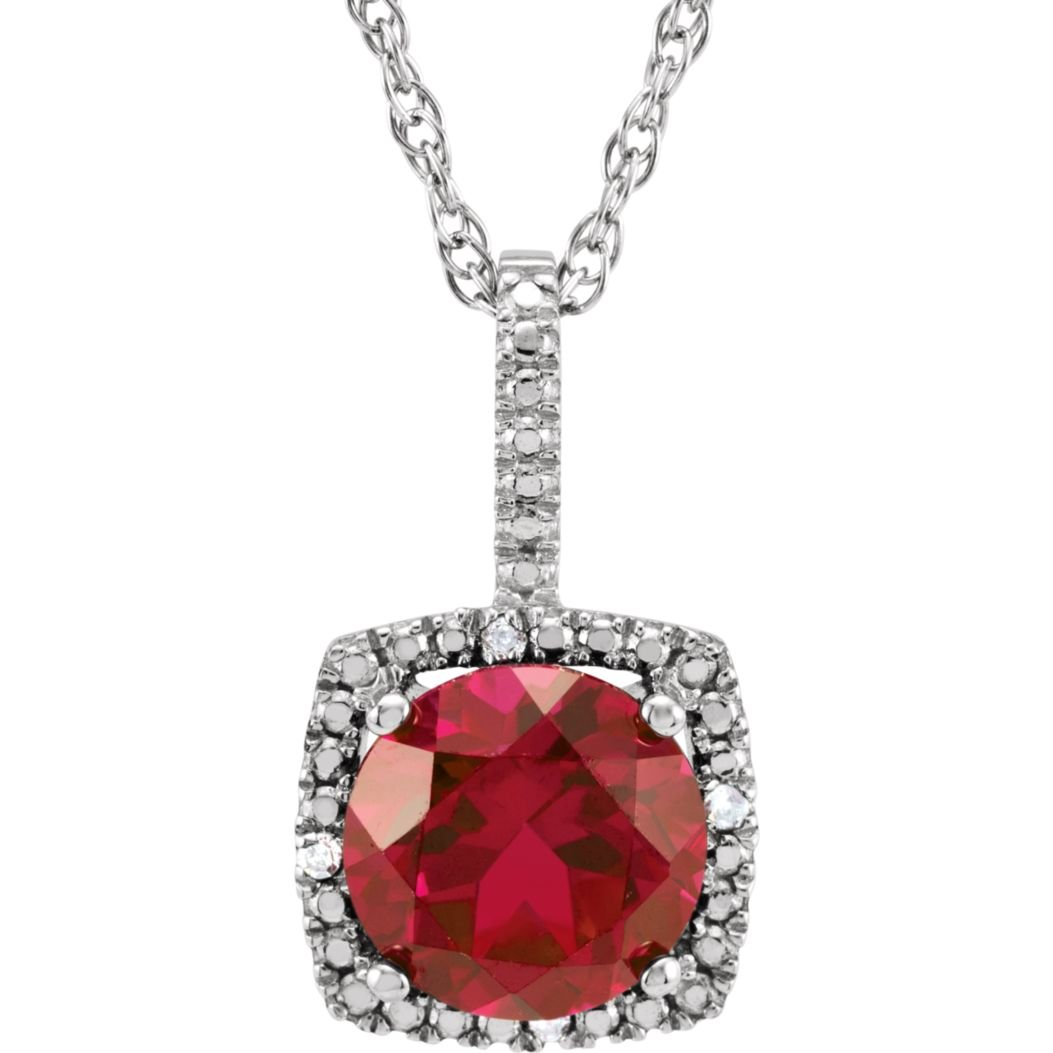 Bonyak Jewelry Lab-Created Ruby Sterling Silver 7 mm Lab-Grown Ruby /& .015 CTW Diamond 18 Necklace