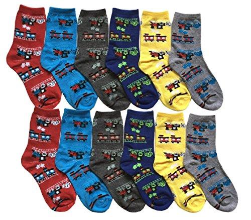 Train Apparel (Differenttouch 12 Pairs Kids Boys Novelty Design Crew Socks (4-6, 12 Pairs Choo Choo Train))