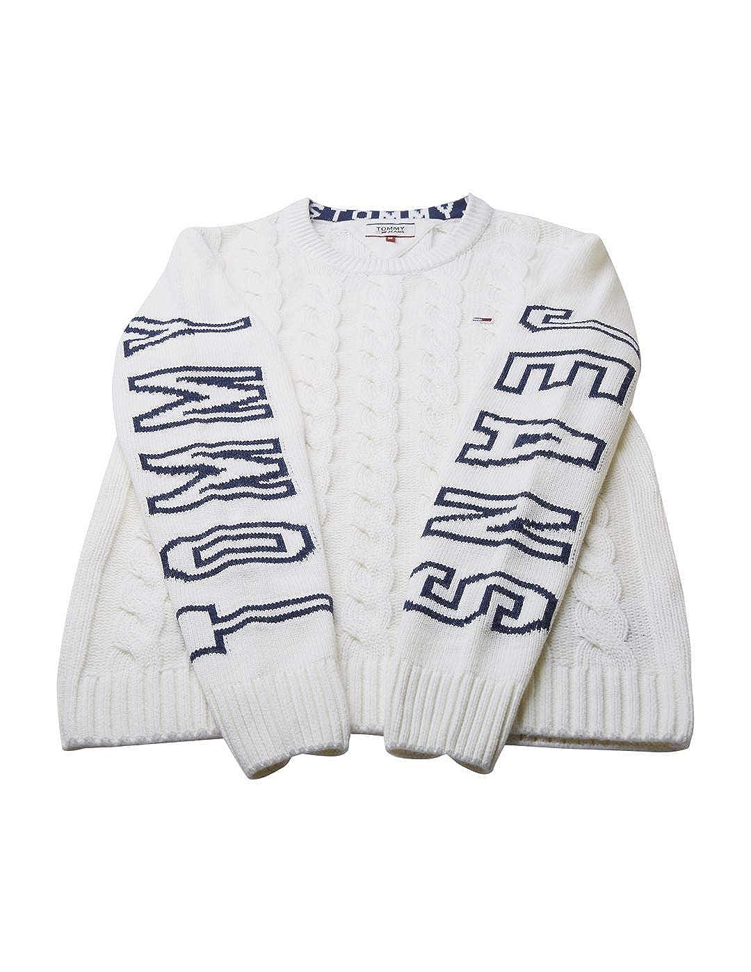 Marshmallow//Iris Nero Maglione in Maglia con Logo Tommy Jeans Cable
