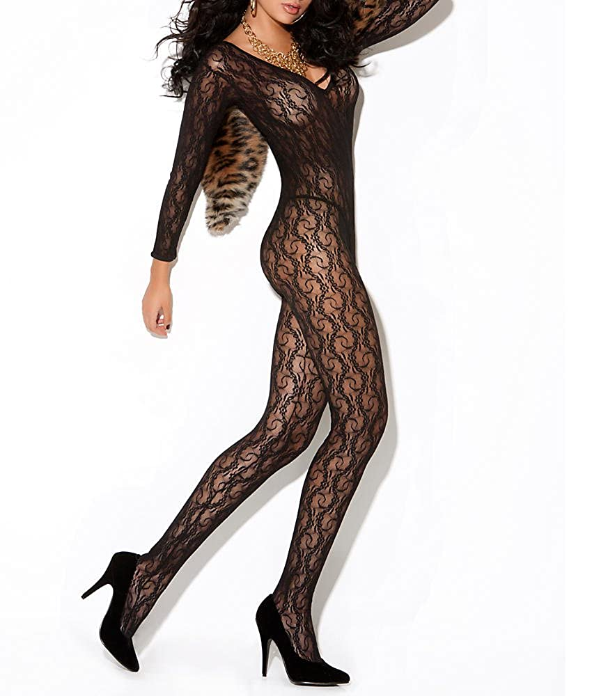 Elegant Moments Women's Long Sleeve Lace Body Stocking With Open Crotch Black One Size Elegant Moments Lingerie 8503