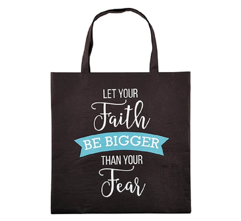 AT001 Let Your Faith Be Bigger Than Your Fear Tote Bag with Pen Pockets, 15'' SQ, 12 Pack.