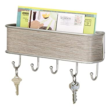 mDesign Wall Mount Metal Mail Organizer Storage Basket - 5 Hooks - for Entryway, Mudroom, Hallway, Kitchen, Office - Holds Letters, Magazines, Coats, Keys - Satin/Gray Wood Finish