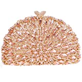 Bonjanvye Half Moon Shape Kiss Lock Purses Crystal Clutch Evening Bag
