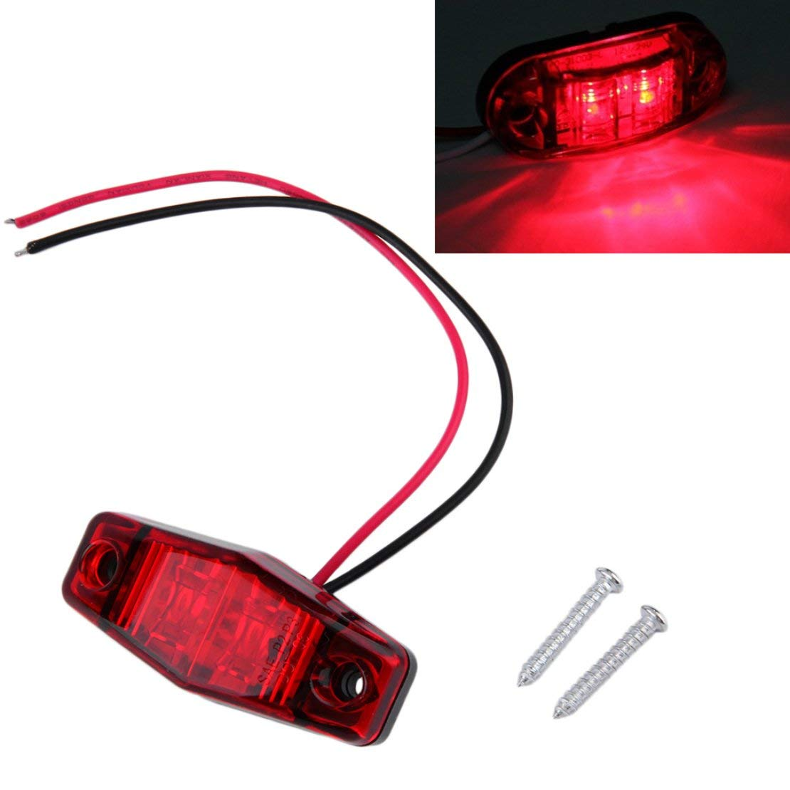 Rojo Hot1 pc LED Cami/ón de remolque 2 Diodo 1x2.5 Despeje de la superficie Luz de marcador lateral Sumergible Ancho de la l/ámpara Despeje de la l/ámpara Estilo de autom/óvil