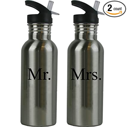 CustomGiftsNow Mr. and Mrs. Stainless Steel Water Bottle Wedding Set with Straw Flip Tops 20 Ounce 600ml Sport Water Bottles