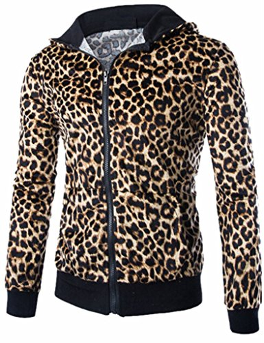 Mens Punk Leopard Hooded Sweatshirt