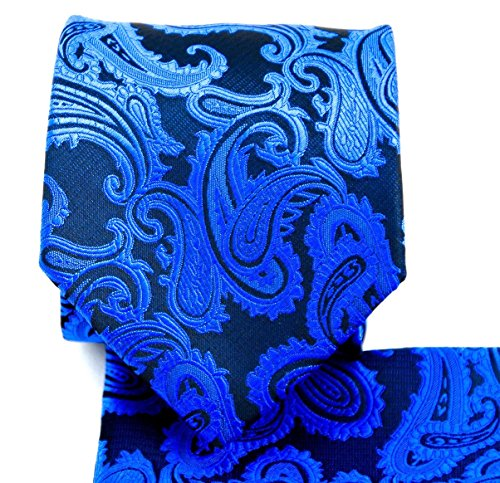 Men's Paisley Necktie Set (Royal Blue/Black) #600-BB