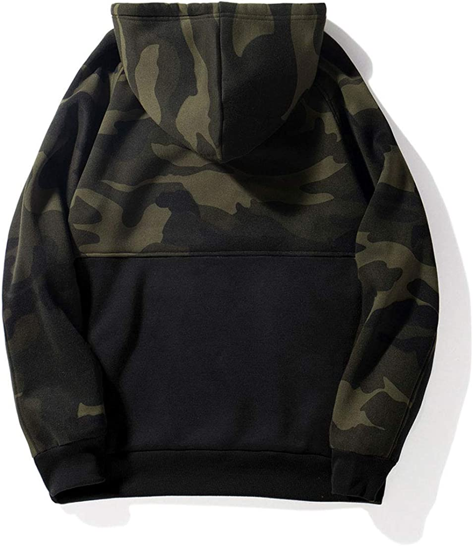InoVa Mens Camouflage Hooded Hoodie Winter Thick Warm Classic Color Block Casual Outwear Sweatshirt with Pocket