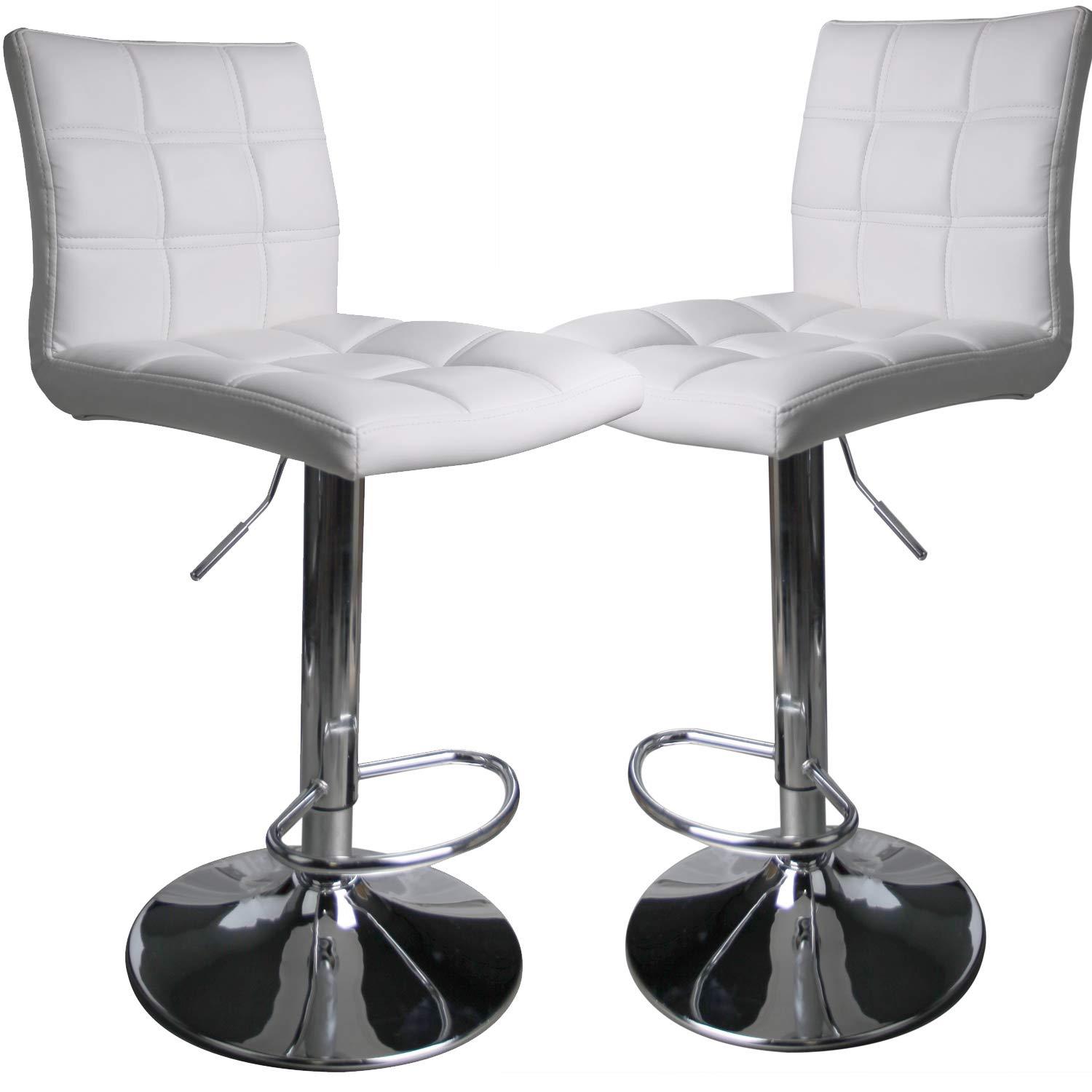 Leader Modern Square Back Bar Stools, Adjustable Swivel Bar Stool Set of 2, Bar Chair with Back (White) by Leader Accessories