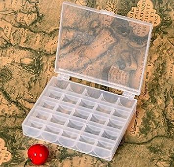Demarkt caja de Bobinas, 25 piezas, vacías, bobinas para Máquina de coser, multicolor, bobinas, Caja de plástico, caja de almacenaje + 25 Bobinas para ...