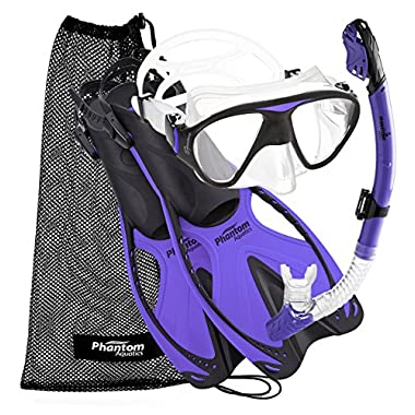 Phantom Aquatics Adult Mask Fin Snorkel Set with Mesh Bag, Twilight, Small/Medium/Size 4.5 to 8.5