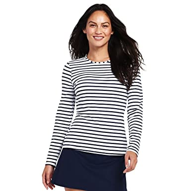 60075a680f Lands  End Women s Long Sleeve Swim Tee Rash Guard Stripe at Amazon ...