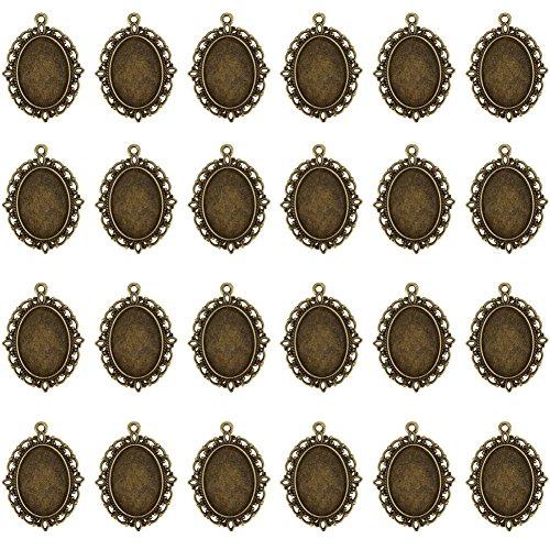 Round Rose Pendant Setting (24 PCS Bezel Pendant Trays Oval Cabochon Settings Trays Pendant Blanks)