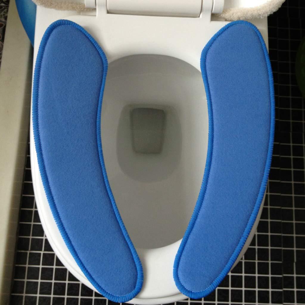 Blau B Baosity 2 St/ücke Selbstklebende Toilettensitzabdeckung Toilettensitz Pad W/ärmer WC Sitzbezug Deckel Toilet Sitzmatte Pl/üsch Weichsitz Kissen Auflage