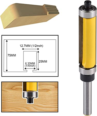 "1//4/"" Shank Top /&Bottom Bearing Flush Trim Router Bit For Woodworking 38mm"