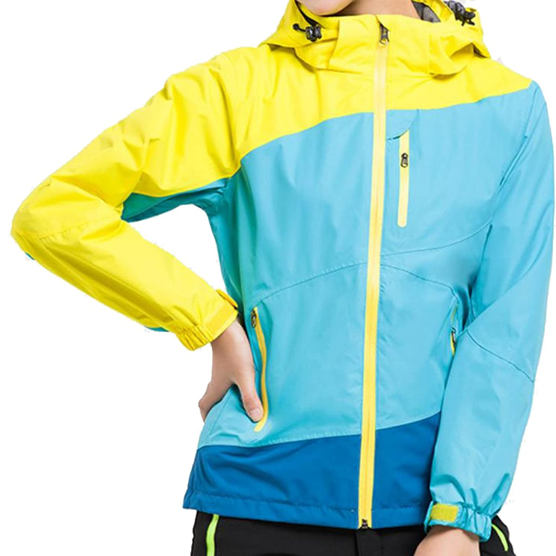 Abetteric Women's Windproof Hood Splice Outdoor Sport Jacket 2 M