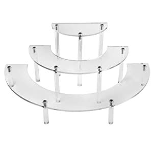 QWORK Acrylic Display Stand, 1 Pack Stand with Clear Acrylic Legs Half Moon Server Cupcake Dessert Stand for Display Or Collections