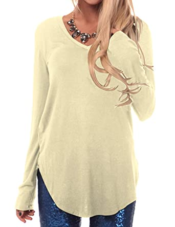 393756f1426 Womens Solid Long Sleeve V Neck Blouses Ladies Tunic Tops Plus Size Loose  Fit Pleated Shirts Casual Irregular Hem Plain Top Pullover Jumpers Sweaters  ...