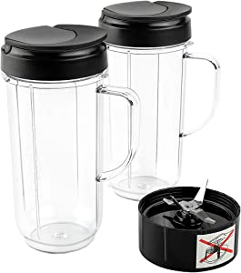 Livtor 2-Pack 22 Oz Tall Mugs Cups with 2 Flip Top To-Go Lids & 1 Cross Blade, Compatible with Magic Bullet Blenders 250W MB1001