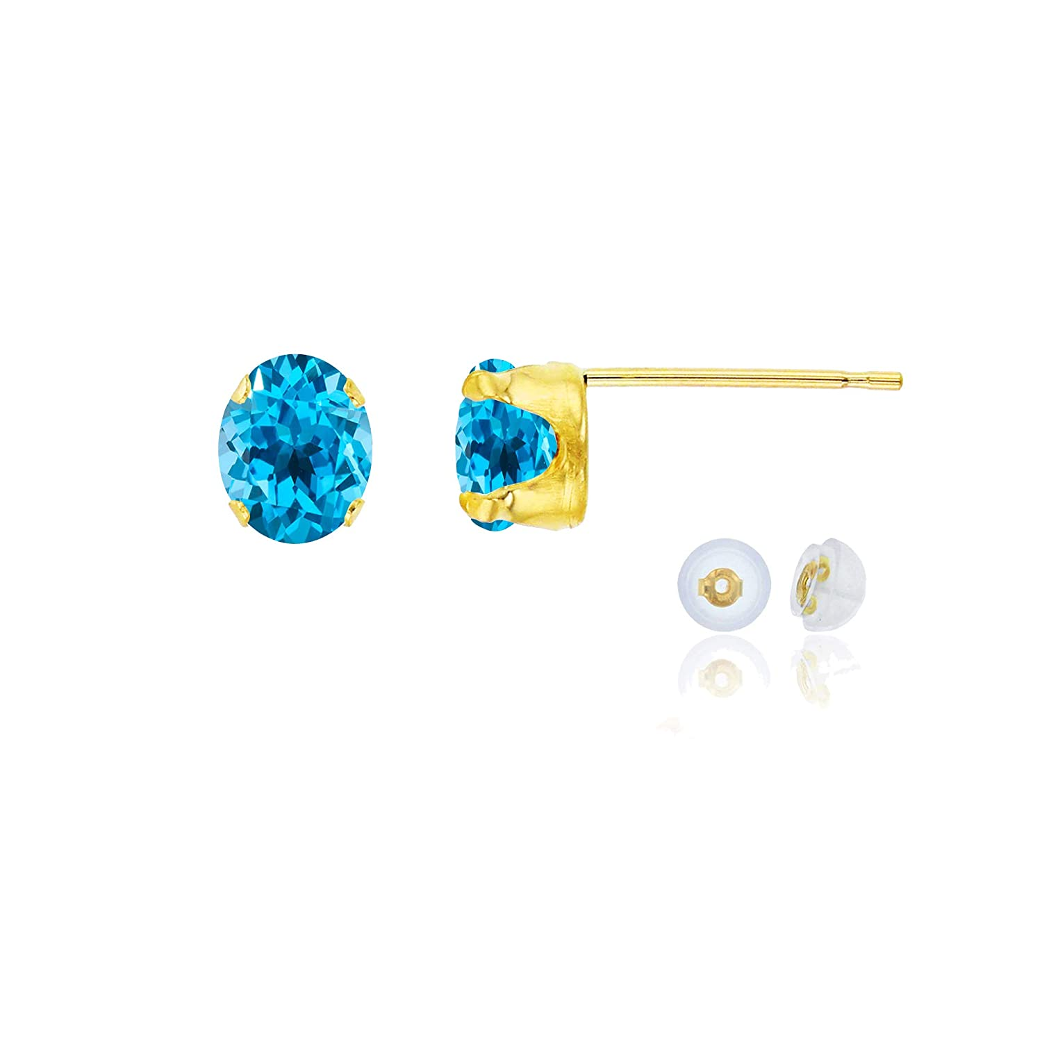 White or Rose Gold 6x4mm Oval Genuine Or Created Gemstone Birthstone Stud Earrings Solid 10K Yellow
