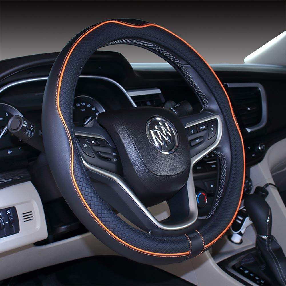 Black Red Micro Fiber Leather Car Steering wheel Cover 15 inches