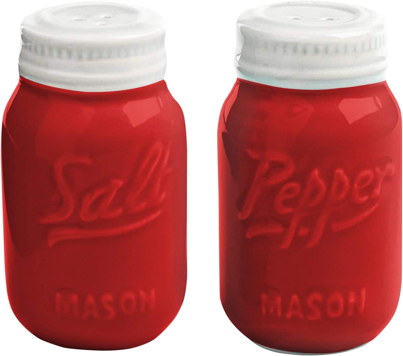Amazon Com Red Ceramic Mason Jar Salt And Pepper Shaker Great