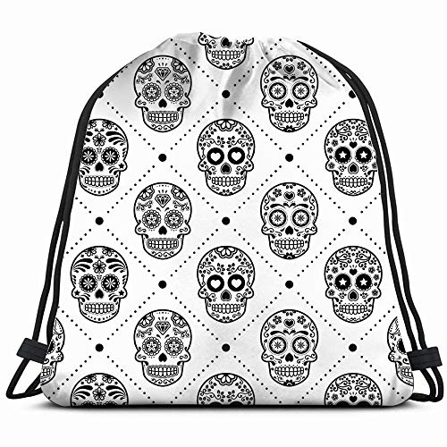 Halloween Mexican Sugar Skull Holidays Drawstring Backpack Bag For Kids Boys Girls Teens Birthday, Gift String Bag Gym Cinch Sack For School And Party]()