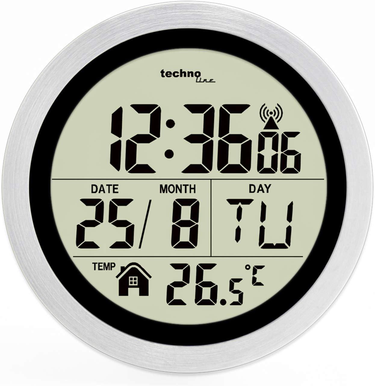 Kuststoff silber Technoline WT3005 Digitale Badezimmer-Funkwanduhr /Ø 147 x 79 mm