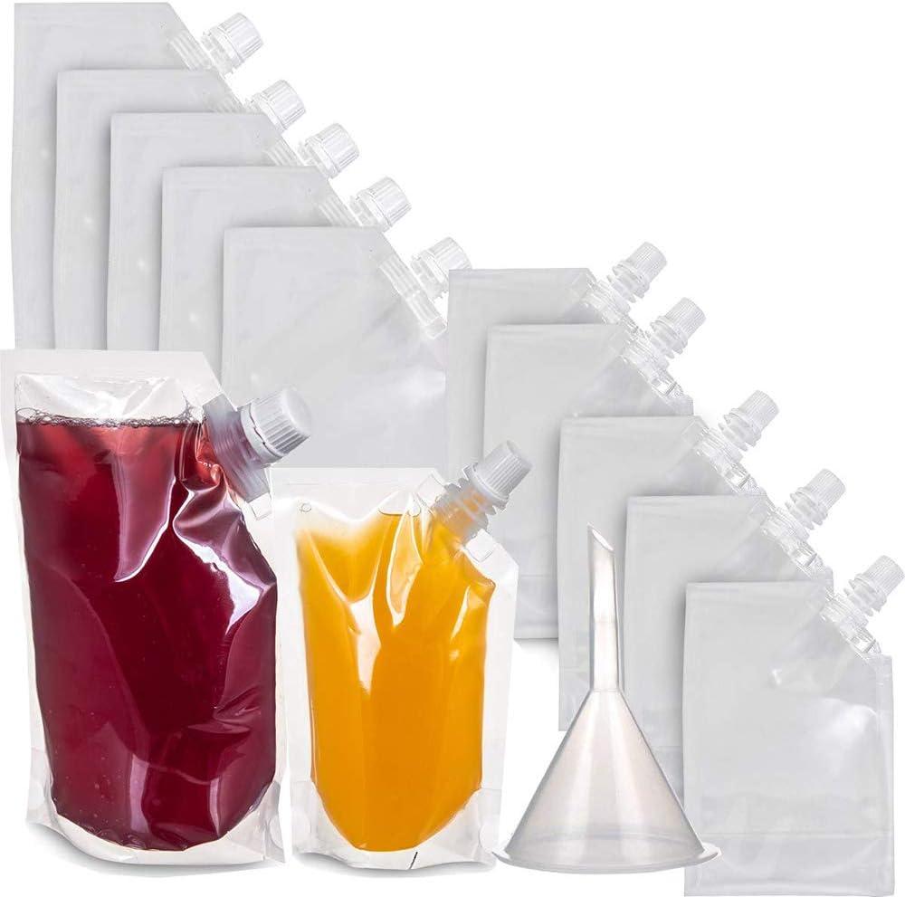 inherited 250ml,500ml Bolsa de Licor Reutilizable Bolsa de Bebida ocultable Frascos de plástico para Beber con Boquilla y Bebida pequeña Embudo de matraz