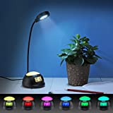 DreamSky Small Alarm Clock With Desk Lamp ,7 Color Changing Mood Light , USB Port For Phone Charger , Snooze, Outlet Powered With DC Adapter Included , Batery Backup.
