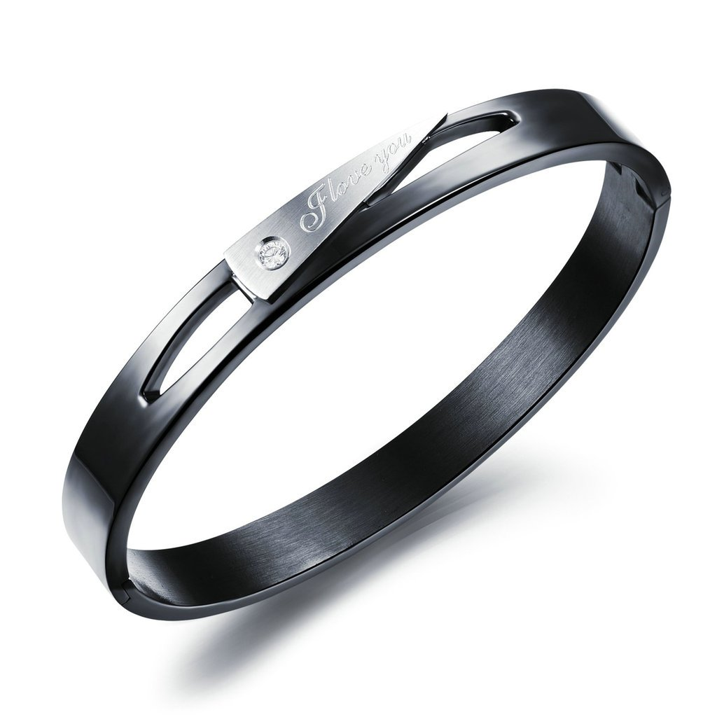 KnSam Women Titanium Cuff Bracelets Crystal Rhinestone Round Black//Rose Gold Novelty Bracelet